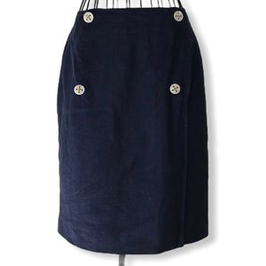 VTG British Khaki Lined Linen Nautical Wrap Skirt